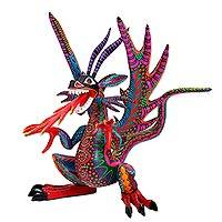 Wood alebrije sculpture, 'Flaming Dragon' - Handcrafted Wood Alebrije Dragon Sculpture from Mexico