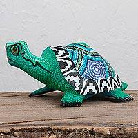 Wood alebrije sculpture, 'Green Tortoise' - Wood Alebrije Tortoise Sculpture in Green from Mexico