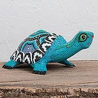 Wood alebrije sculpture, 'Blue Tortoise' - Copal Wood Alebrije Tortoise Sculpture in Blue from Mexico