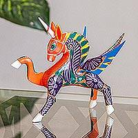 Wood alebrije sculpture, 'Noble Pegasus' - Hand-Painted Wood Alebrije Pegasus Sculpture from Mexico
