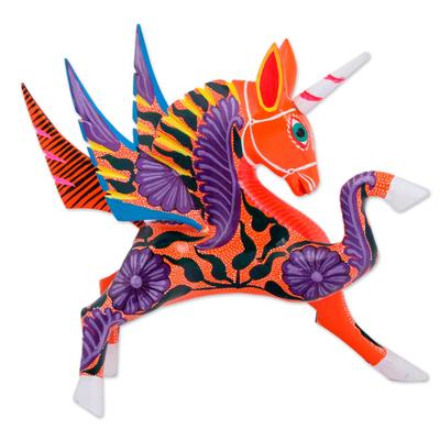 Wood alebrije sculpture, 'Noble Pegasus' - Hand-Painted Wood Alebrije Pegasus Sculpture from Mexico