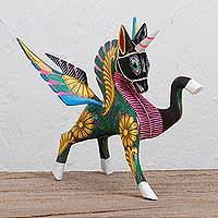 Wood alebrije sculpture, 'Proud Pegasus' - Handcrafted Wood Alebrije Pegasus Sculpture from Peru