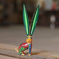 Wood alebrije sculpture, 'Big-Eared Rabbit' - Hand-Painted Wood Alebrije Rabbit Sculpture from Mexico