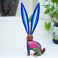 Wood alebrije sculpture, 'Listening Rabbit' - Hand-Painted Wood Alebrije Rabbit Sculpture from Mexico