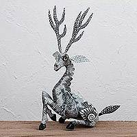 Wood alebrije sculpture, 'Graceful Gazelle' - Handcrafted Copal Wood Alebrije Gazelle Sculpture