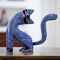 Wood alebrije sculpture, 'Bright Curiosity' - Handcrafted Copal Wood Alebrije Cat Sculpture from Mexico