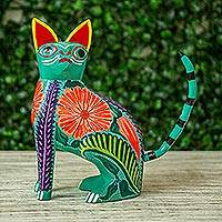 Wood alebrije figurine, 'Floral Feline' - Handcrafted Copal Wood Alebrije Cat Figurine from Mexico