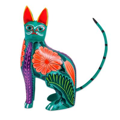 Wood alebrije figurine, 'Floral Feline' - Handcrafted Copal Wood Alebrije Cat Figurine from Mexico