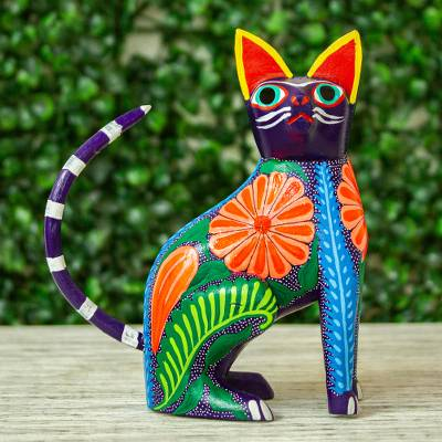 Wood alebrije figurine, 'Graceful Feline' - Handcrafted Copal Wood Alebrije Cat Figurine from Mexico