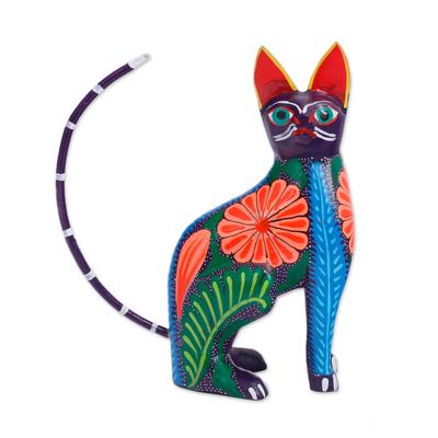 Wood alebrije figurine, 'Graceful Feline' - Handcrafted Copal Wood Alebrije Cat Figurine from Mexico