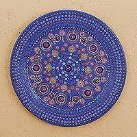 Wood decorative plate, 'Dreamy Dots' - Hand Painted Wood Decorative Plate from Mexico