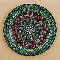 Wood decorative plate, 'Dot Ecstasy' - Hand Painted Multicolored Wood Decorative Plate from Mexico