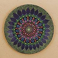 Wood decorative plate, 'Floral Ecstasy' - Hand Painted Colorful Wood Decorative Plate from Mexico