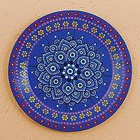 Wood decorative plate, 'Floral Brilliance' - Hand Painted Wood Decorative Plate in Blue from Mexico