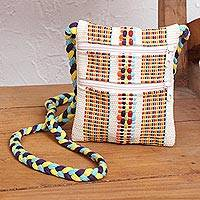 Cotton sling, 'White Rainbow' - Handwoven Multicolored Cotton Sling from Mexico