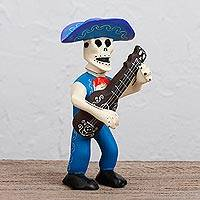 Wood sculpture, 'Día del Charro' - Day of the Dead Charro Hand Carved Wood Sculpture