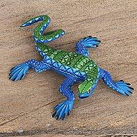 Wood alebrije sculpture, 'Lakeside Iguana' - Blue and Green Iguana Hand Carved Wood Alebrije Sculpture