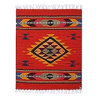 Decorative wool table mat, 'Flavor' - Chili Red Fret Motif Handwoven Wool Decorative Table Mat