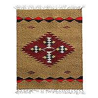 Wool table mat, 'Harvest Meadow' - Khaki with Maroon and Navy Stepped Fret Motif Wool Mat