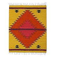 Decorative wool table mat, 'Sun of the Ancients' - Goldenrod Fret Motif Handwoven Wool Decorative Table Mat