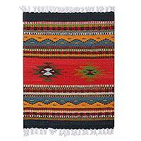 Decorative wool table mat, 'Mountain Landscape' - Colorful Multi-Motif Handwoven Wool Decorative Table Mat