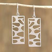 Silver dangle earrings, 'Windows to My Soul' - Rectangular Taxco Silver Dangle Earrings from Mexico
