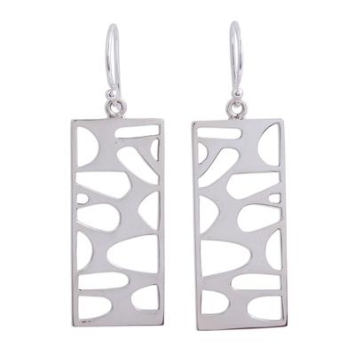 Silver dangle earrings, 'Windows to My Soul' - Rectangular Taxco Silver Dangle Earrings from Mexico