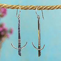 Silver dangle earrings, 'Scintillating Swords' - Taxco Silver Sword Dangle Earrings from Mexico