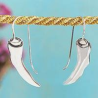 Silver drop earrings, 'Hot Peppers' - Taxco Silver Pepper Drop earrings from Mexico