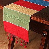 Cotton and silk blend table runner, 'Festive Stripes' - Cotton and Silk Blend Table Runner in Multicolor from Mexico