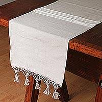 Cotton and silk blend table runner, 'Khaki Earth' - Handwoven Cotton and Silk Blend Table Runner in Khaki
