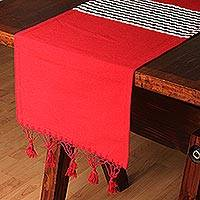 Cotton and silk blend table runner, 'Claret Clay' - Cotton and Silk Blend Table Runner in Claret from Mexico