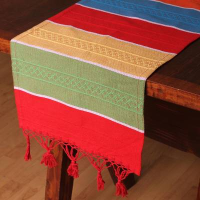 Cotton and silk blend table runner, 'Colors of Mexico' - Multicolored Striped Cotton and Silk Blend Table Runner