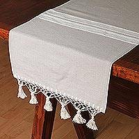 Cotton and silk blend table runner, 'Mexican Oats' - Handwoven Cotton and Silk Blend Table Runner in Oat
