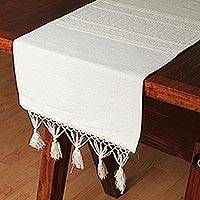 Cotton table runner, 'Alabaster Coral' - Handwoven Cotton and Silk Blend Table Runner in Alabaster