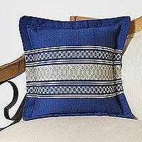 Cotton and silk blend cushion cover, 'Indigo Sky' - Cotton and Silk Blend Cushion Cover in Azure from Mexico
