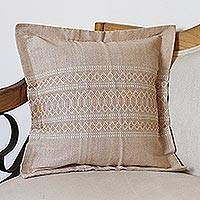Cotton and silk blend cushion cover, 'Almond Sands' - Handwoven Cotton and Silk Blend Cushion Cover in Almond