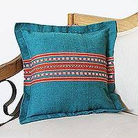 Cotton and silk blend cushion cover, 'Of the Sky and Earth' - Cotton and Silk Blend Cushion Cover in Teal and Orange
