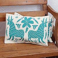 Cotton cushion covers, 'Otomi Beauty' (pair) - Otomi Deer Cotton Print Cushion Covers (Pair)