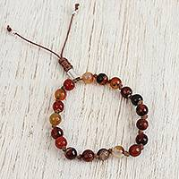 Agate beaded bracelet, 'Desert Agate' - Earthen Agate Beaded Bracelet from Mexico