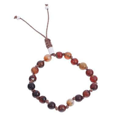 Earthen Agate Beaded Bracelet from Mexico