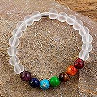 Agate and tiger's eye beaded stretch bracelet, 'Seven Chakras in White' - Agate and Tiger's Eye Chakra Bracelet in White from Mexico