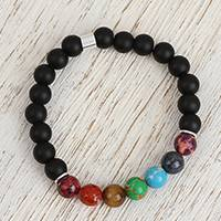 Agate and tiger's eye beaded stretch bracelet, 'Seven Chakras in Black' - Agate and Tiger's Eye Chakra Bracelet in Black from Mexico