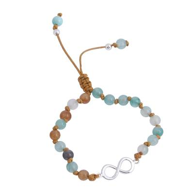 Infinity Symbol Agate Beaded Pendant Bracelet from Mexico