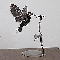 Upcycled metal auto part sculpture, 'Flitting Hummingbird'