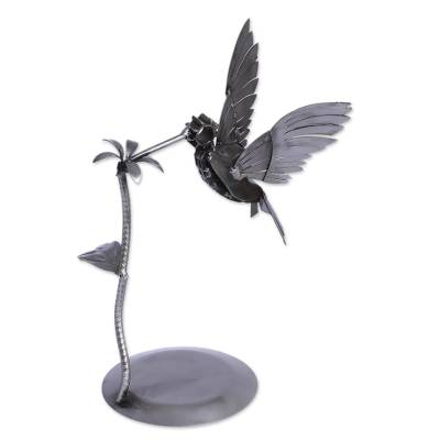 Upcycled metal auto part sculpture, 'Flitting Hummingbird' - Upcycled Auto Part and Sheet Metal Hummingbird Sculpture