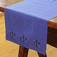 Cotton table runner, 'Starry Light' - Handwoven Cotton Table Runner in Cornflower from Mexico