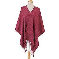 Cotton shawl, 'Carnation Fields' - Handwoven Cotton Shawl in Carnation and Magenta from Mexico
