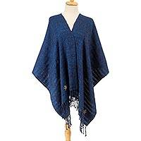 Cotton shawl, 'Azure Cloud' - Handwoven Cotton Shawl in Azure from Mexico