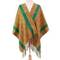 Cotton shawl, 'Rain of Sand' - Handwoven Multicolored Cotton Shawl from Mexico